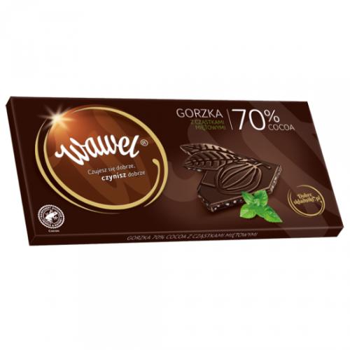 Gorzka 70% cocoa z cząstkami miętowymi