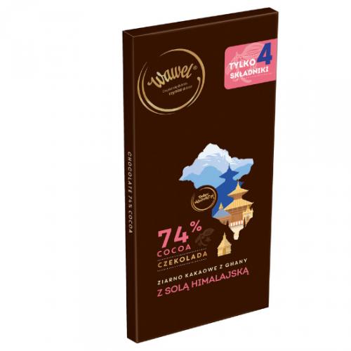 Czekolada Gorzka 74% z ziarnem z Ghany i solą himalajską